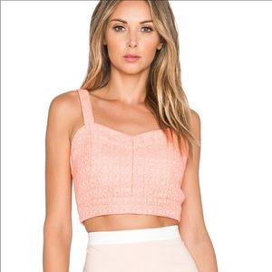 JOA Tweed Coral Crop Top